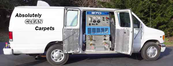 Van with open door showing Truck-Mounted carpet cleaning System
